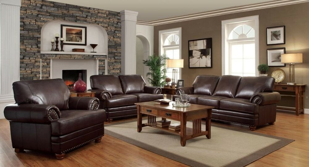 Traditional Living Room Furniture Traditional Stylish Brown Bonded Leather sofa L S & Chair
