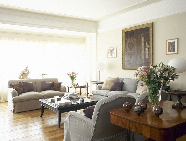 Traditional Living Room Gray Beige Gray Traditional Family Room Living Room Design