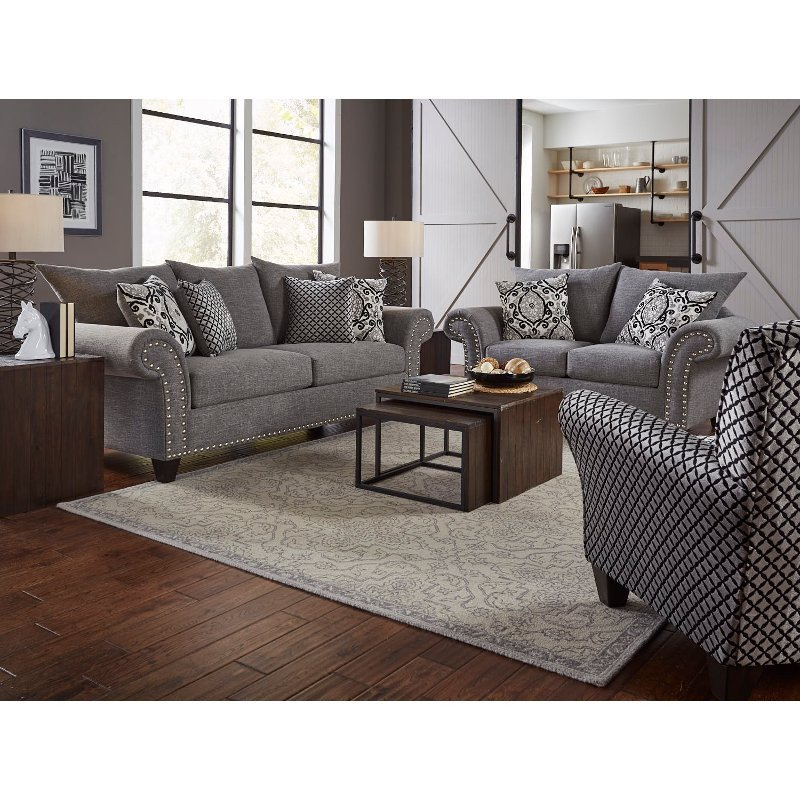 Traditional Living Room Gray Casual Traditional Gray 2 Piece Living Room Set Paradigm