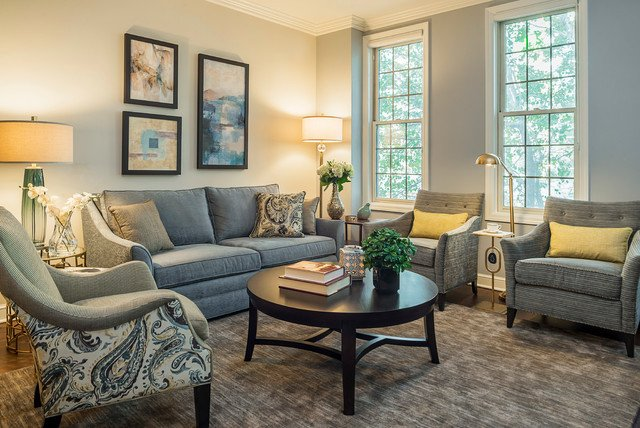 Traditional Living Room Gray Grey Blue and Gold Traditional Living Room Chicago
