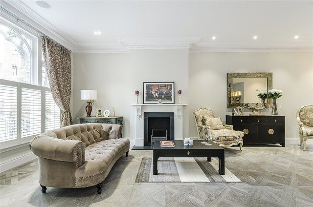 Traditional Living Room Gray Parsons Green Versailles In Colour Grey Mist