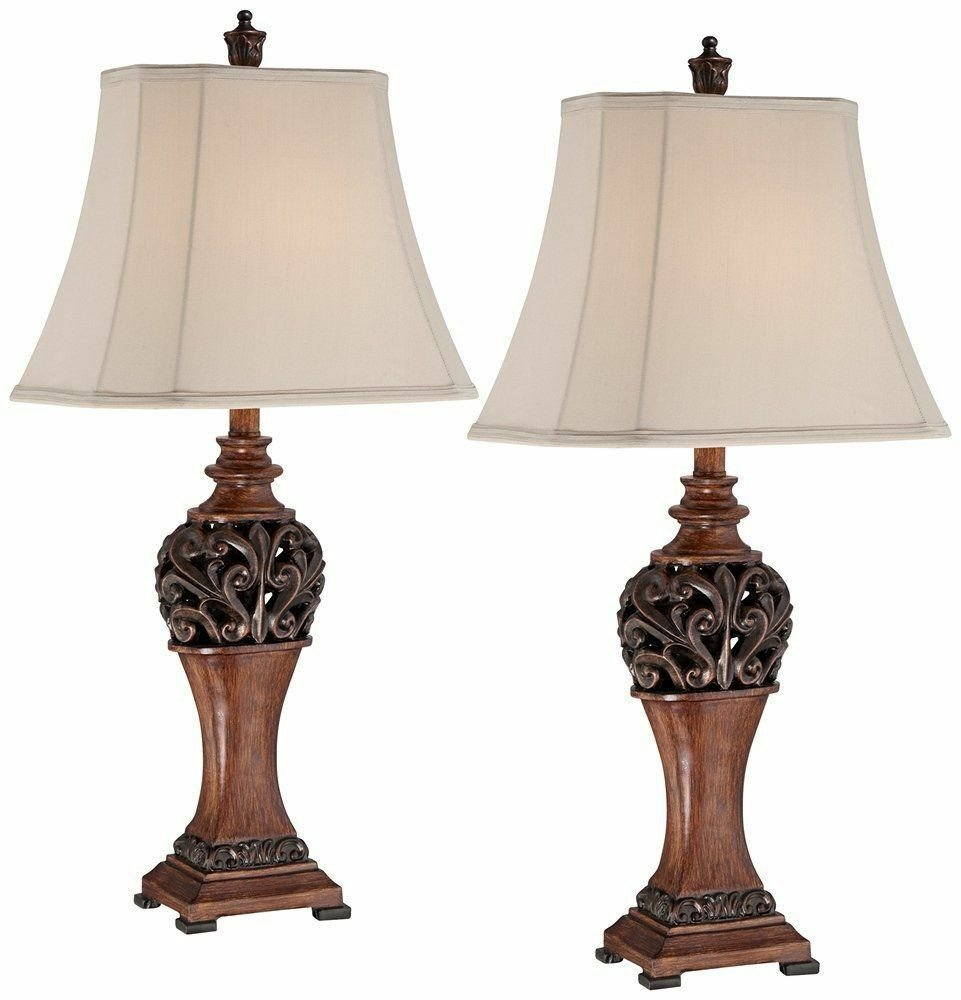 Traditional Living Room Lamps 2 Bronze Set Traditional Table Lamps Lighting Led Decor