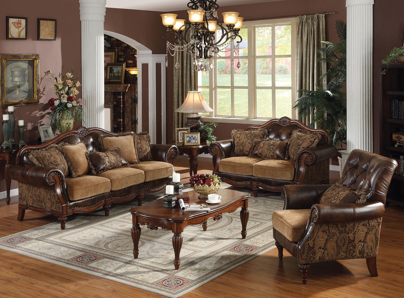 Traditional Living Room Sets Dreena Traditional formal Living Room Set Carved Cherry