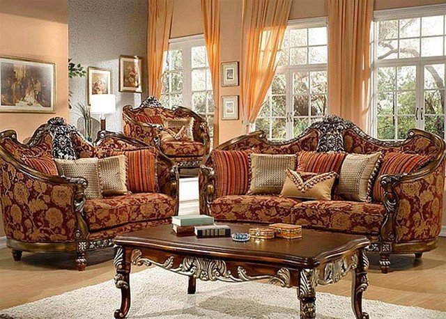 Traditional Living Room Sets Homey Design Florence Red and Gold Chenille 3 Piece