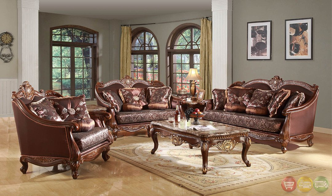 Traditional Living Room Sets Marlyn Traditional Dark Wood formal Living Room Sets with
