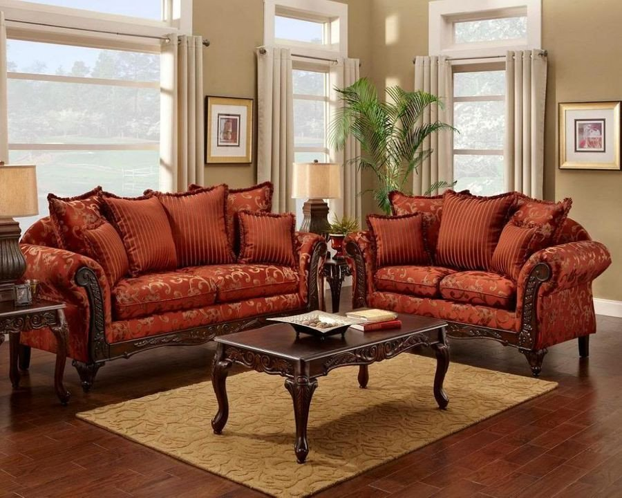 Traditional Living Room Sets Serta formal Magenta Antique Style Luxury sofa & Love Seat