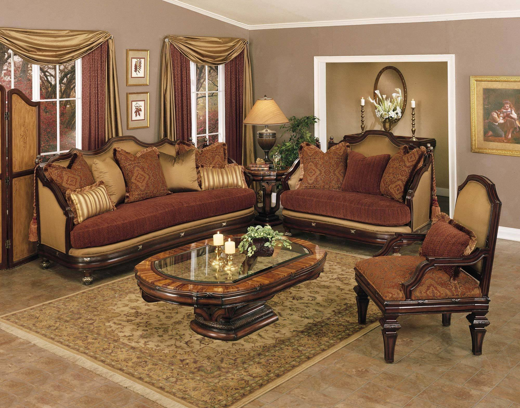 Traditional Living Room Sets Traditional Fabric Covered Living Room Set Living Room