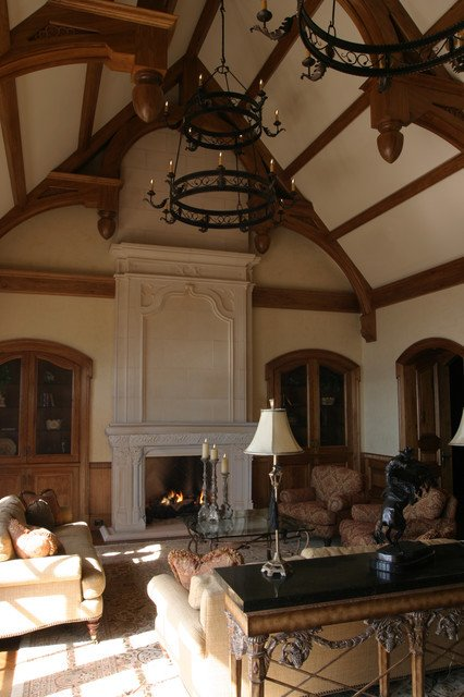 Traditional Living Room toronto French Gothic Mantel with Overmantel Traditional