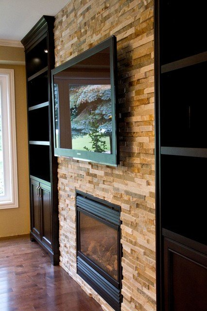 Traditional Living Room toronto Glass Shelves Built In Units Around Fireplace