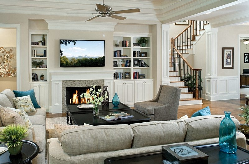 Traditional Living Room Tv Tv Fireplace Design Ideas