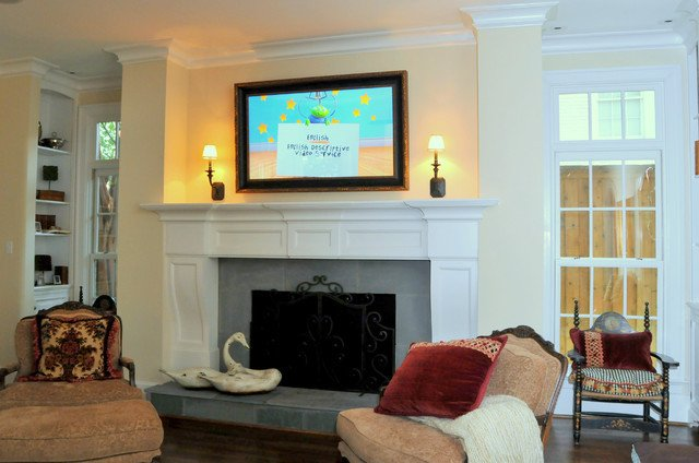 Traditional Living Room Tv Tv On Traditional Living Room Dallas by Gillis