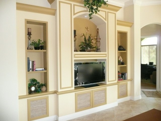 Traditional Living Room Tv Tv Wall Units