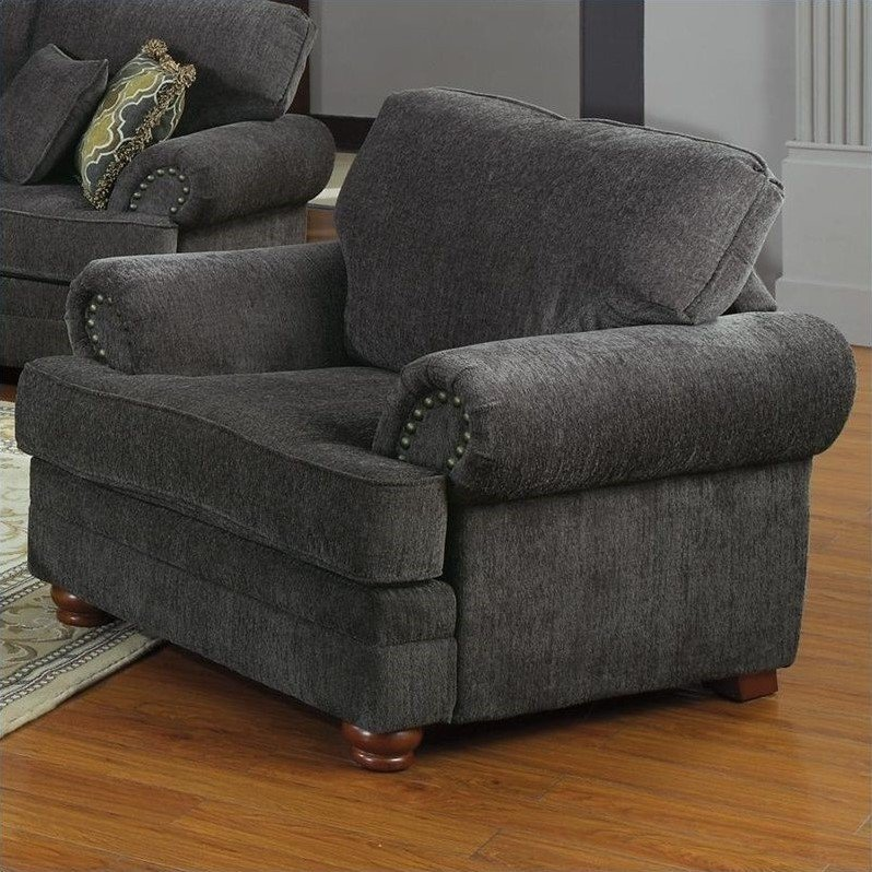 Traditional Living Room Upholstered Chairs Coaster Colton Traditional Upholstered Club Chair In Gray
