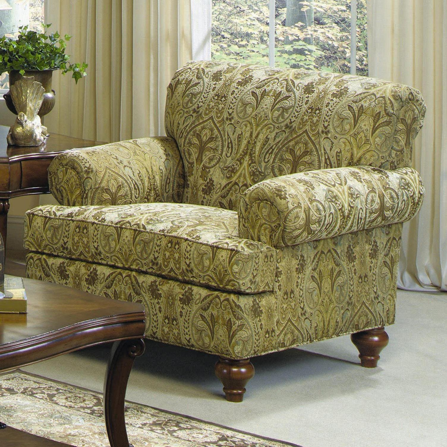 Traditional Living Room Upholstered Chairs Craftmaster 7047 Traditional Upholstered Chair with Turned