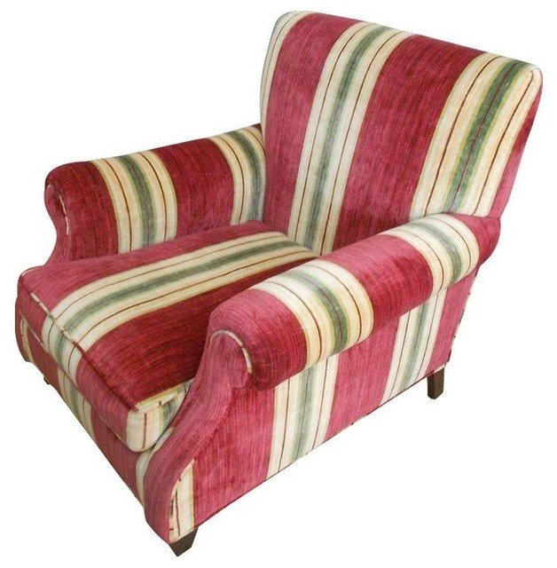 Traditional Living Room Upholstered Chairs Custom Upholstered Chair In Red Stripe Traditional