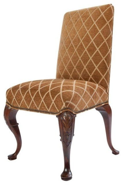 Traditional Living Room Upholstered Chairs Full Upholstered Queen Anne Style Side Chair Traditional