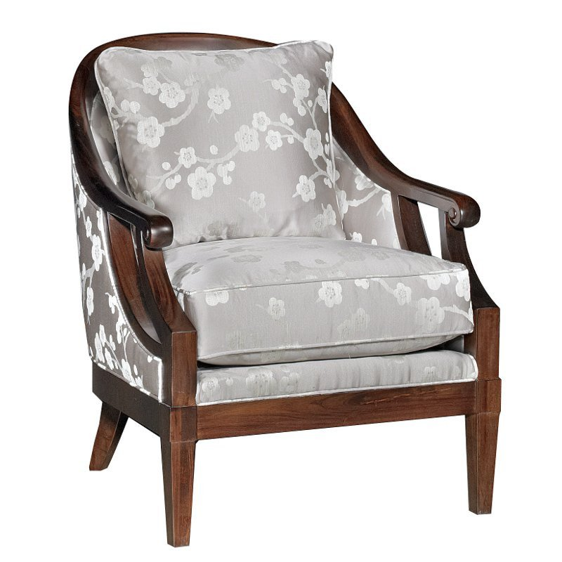 Traditional Living Room Upholstered Chairs Melody Gray Floral Upholstered Traditional Accent Chair