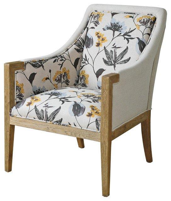 Traditional Living Room Upholstered Chairs Nina French Country Floral Upholstered Oak Arm Chair