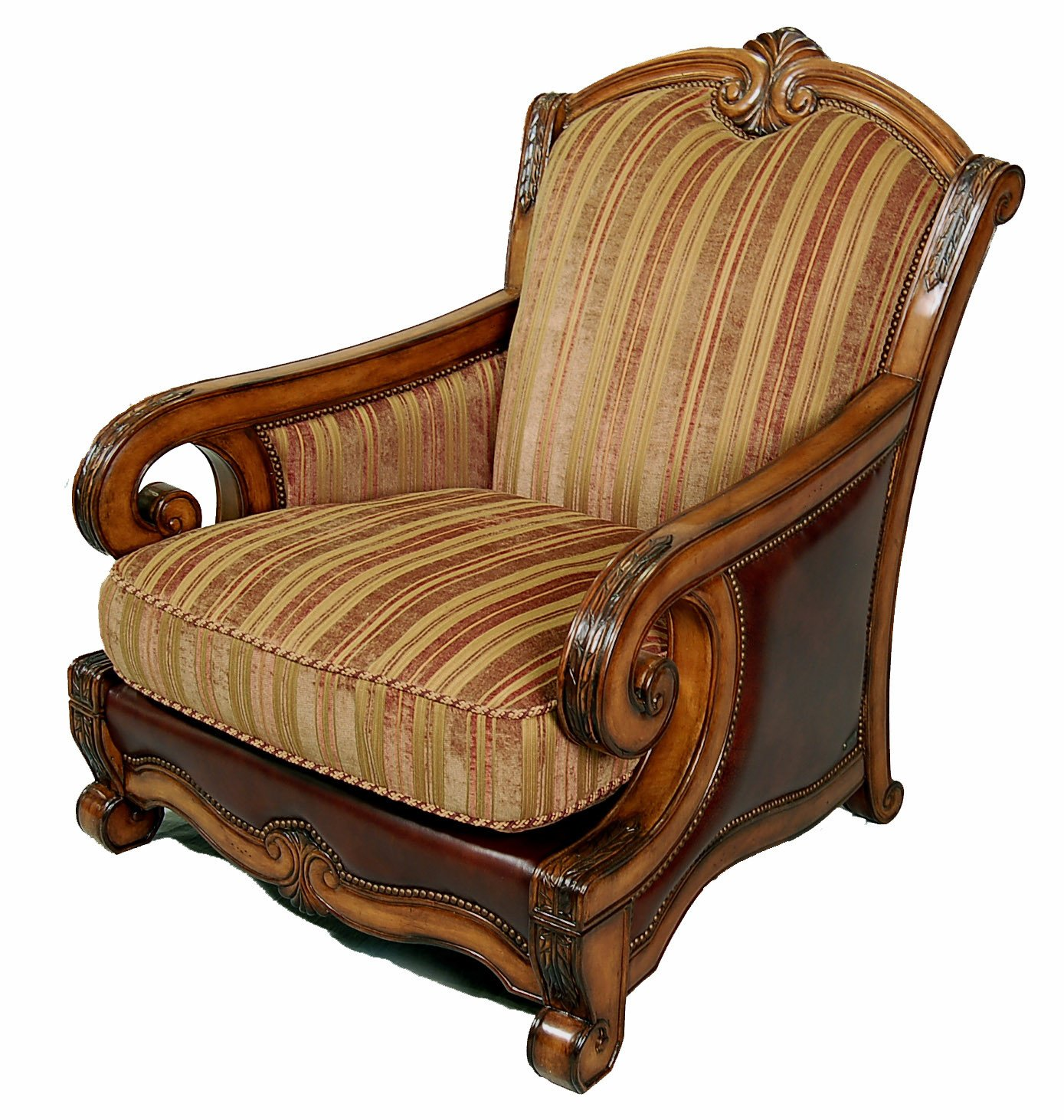Traditional Living Room Upholstered Chairs Traditional Italian Fabric and Leather Upholstered Living