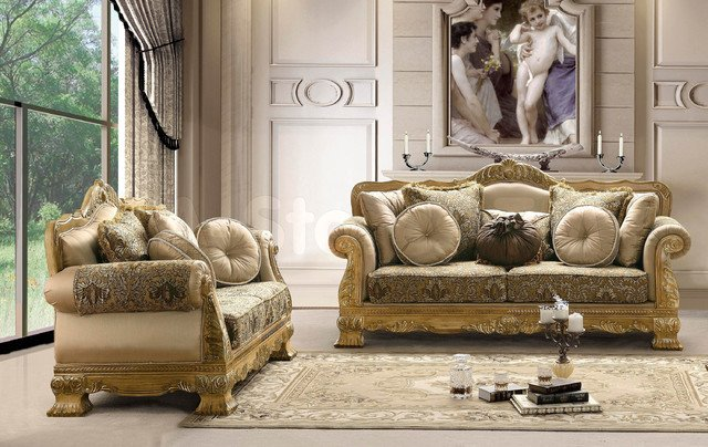 Traditional Living Room Upholstered Chairs Traditional Upholstered 2 Pc sofa Set sofa and Loveseat