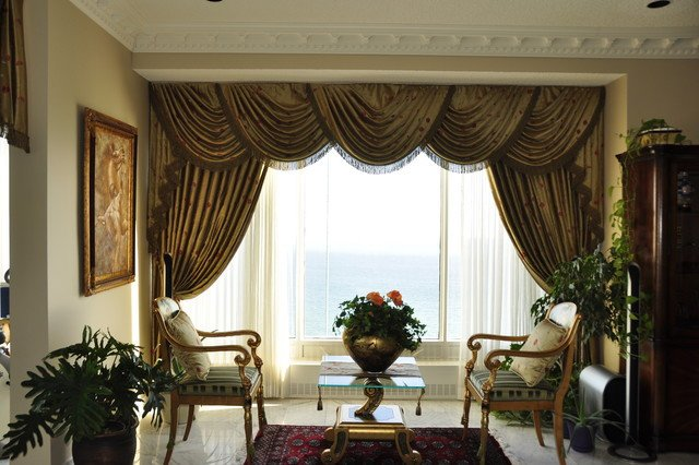Traditional Living Room Windows Drapery Curtains and Window Coverings Traditional