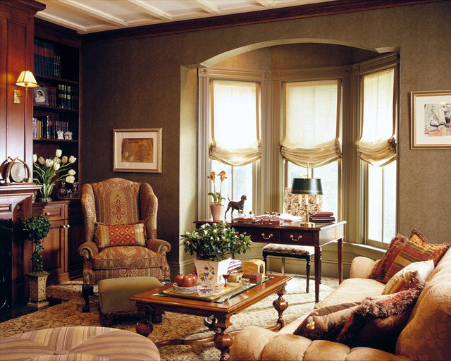 Traditional Living Room Windows Library 2 Traditional Living Room New York by