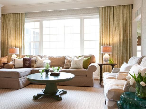 Traditional Living Room Windows Neutral Traditional Living Room with Green Accents