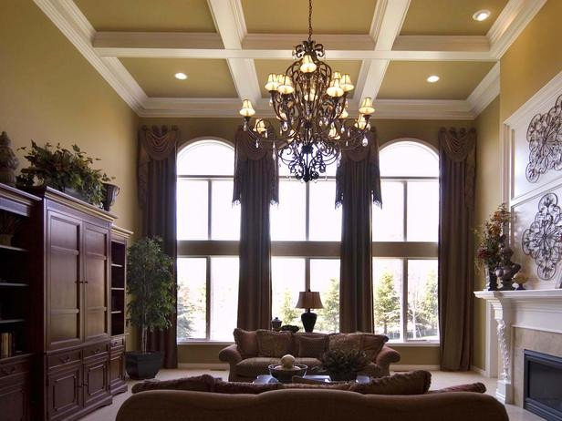 Traditional Living Room Windows Traditional Living Room with Coffered Ceiling