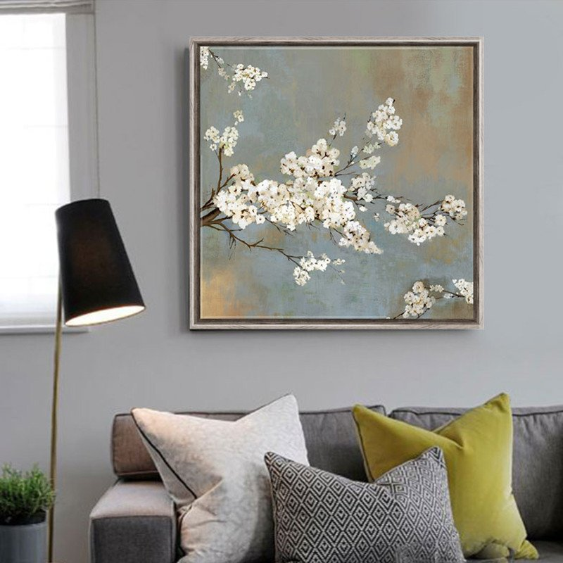 Tree Decor for Living Room White Cherry Tree Flowers Painting Canvas Prints Home