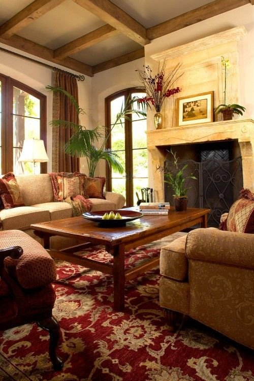 Tuscan Living Room Decorating Ideas Tuscan Living Room with Stone Fireplace and Note the