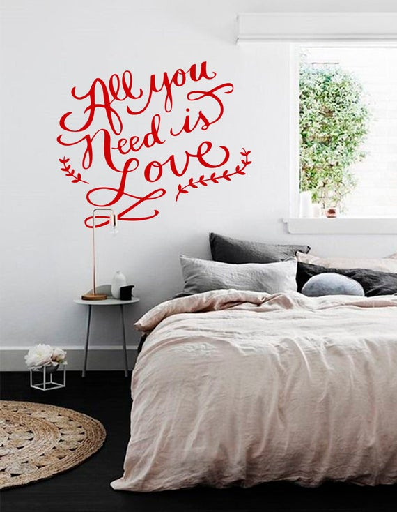 Wall Decals for Bedroom All You Need is Love Dorm Decor Bedroom Decals Quote Wall Decal Love Quote Decal Inspirational Decals Quote Vinyl Decal Bedroom Wall Decor