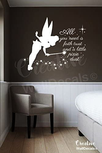 Wall Decals for Bedroom Creativewalldecals Vinyl Wall Decal Sticker Tinkerbell Quote Fairy Kids Nursery Bedroom R1895