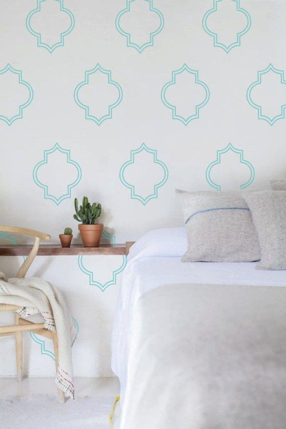 Wall Decals for Bedroom Moroccan Patterns Wall Decal Wall Stickers Living Room Decor Wall Decals for Bedroom Wall Decor Home Improvement Turquoise Decal 652