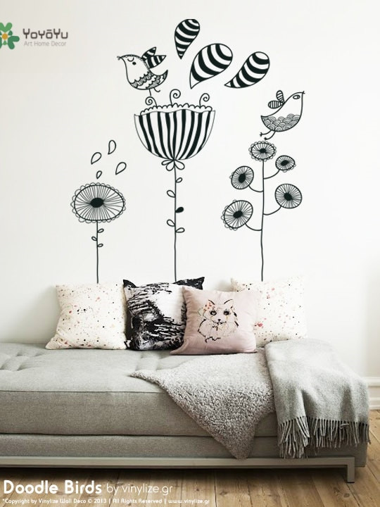 Wall Decals for Bedroom Us $7 33 Off Yoyoyu Vinyl Wall Decal Cute Doodle Bird Flowers Childlike Kids Bedroom Funny Home Decoration Stickers Fd476 Home Decor