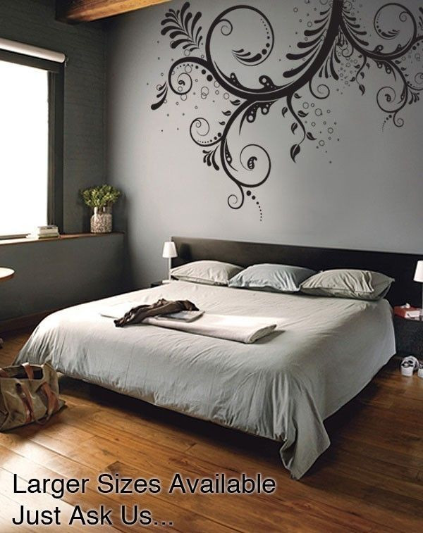 Wall Decals for Bedroom Vinyl Wall Decal Sticker Flower Floral Swirl Large Item 310a