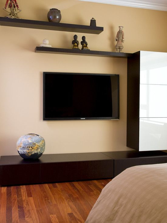 Wall Mounted Tv Ideas Bedroom Floating Shelves Around Flat Screen Tv Design