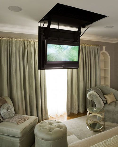 Wall Mounted Tv Ideas Bedroom Secret Hatch Reveals Bedroom Tv