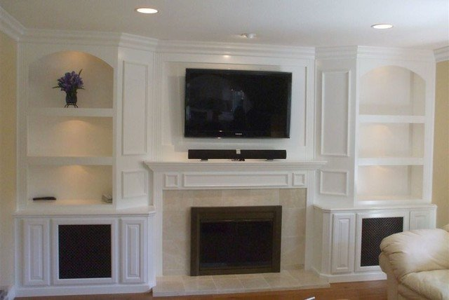 Wall Units Traditional Living Room Built In White Lacquer Wall Unit