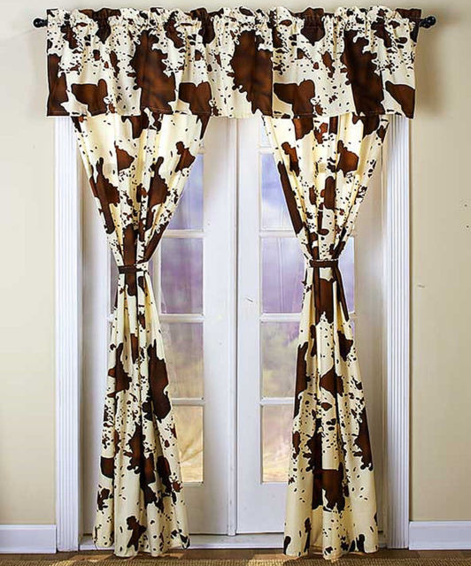 Western Curtains for Bedroom 5 Pc Window Curtain Panel Valance Set Rodeo Cowhide Western Cowboy Home Decor