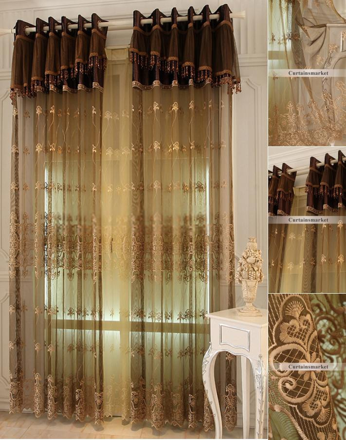 Western Curtains for Bedroom Brown Embroidered Sheer Curtains for European Bedroom No Include Valance
