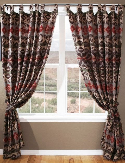"Western Curtains for Bedroom Carjb2096 ""montana"" Western Drapes with Tie Backs"