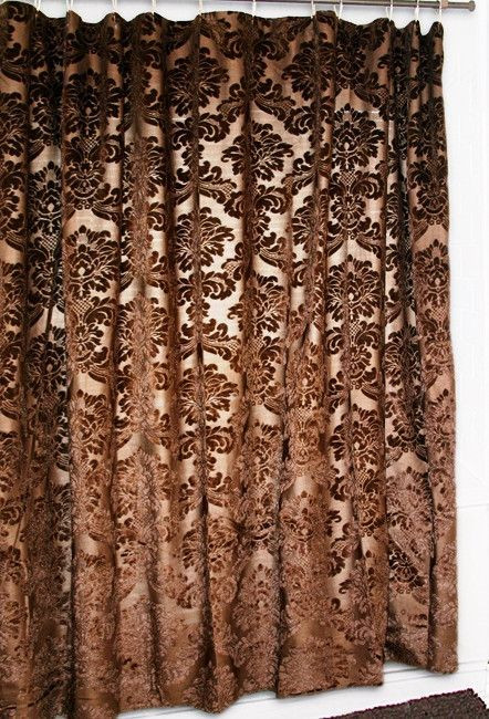 "Western Curtains for Bedroom Gold Rush"" Damask Shower Curtain"