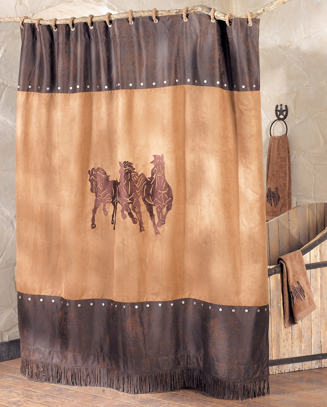 Western Curtains for Bedroom Running Horse Shower Curtain