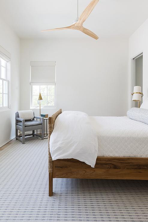 What Size Fan for Bedroom Modern Blond Wood Ceiling Fan Over Woven Bed Cottage Bedroom