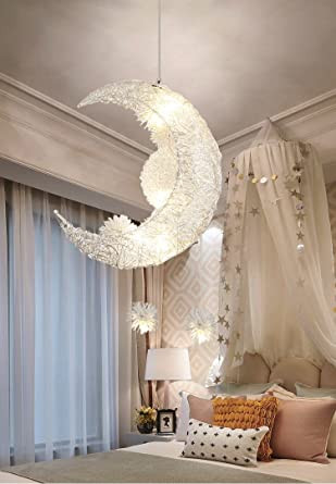 White Light for Bedroom Creative Moon and Stars Fairy Led Pendant Lamp Chandelier Ceiling Light Kids Children Bedroom Decoration White Light