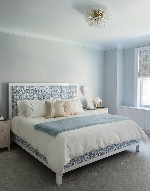 White Light for Bedroom Light Blue Bedroom with Pale Blue Ceiling Transitional