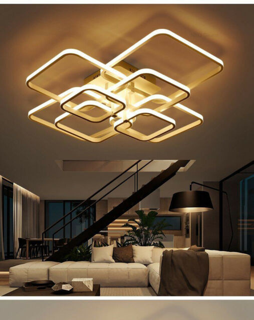 White Light for Bedroom Rectangle Ceiling Light Led Lamp Modern Living Room Bedroom Aluminum Chandelier