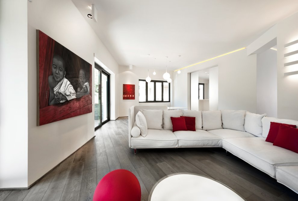 White Living Room Decor Ideas Red & White Apartment