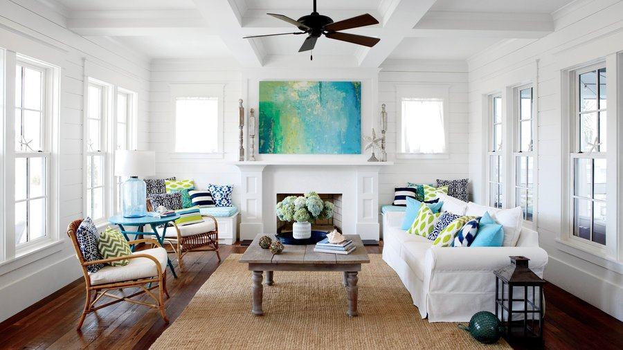 White Paint Guide for Living Room Decorating 50 Ways to Decorate with Turquoise Coastal Living