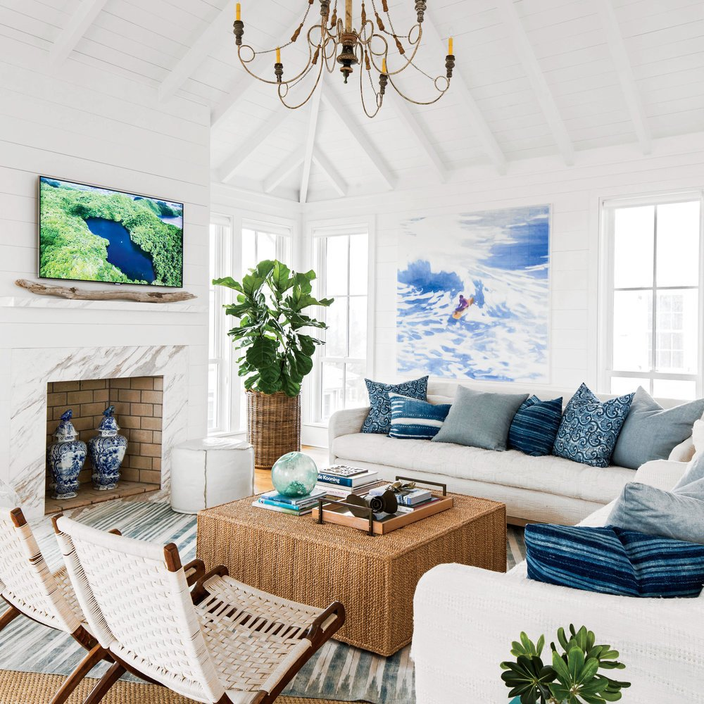 White Paint Guide for Living Room Decorating Blue and White Ocean Inspired Living Room 15 Shiplap
